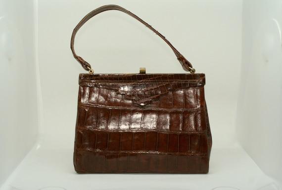 Vintage Art Deco 1930s 40s crocodile leather top h