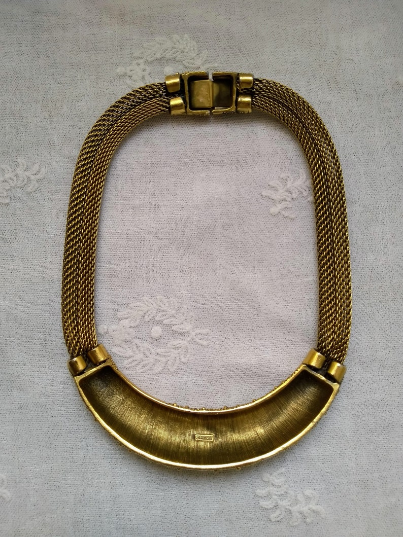 Vintage 1980s Monet gold tone collier collar style statement necklace