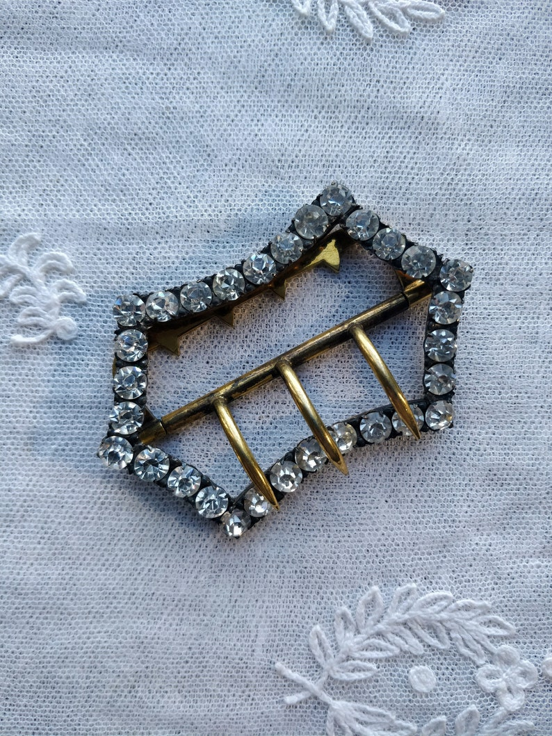 Antique 1900s Edwardian large French gilt metal and sparkling diamond paste buckle