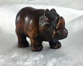 Vintage Japanese Rhinoceros boxwood netsuke, signed