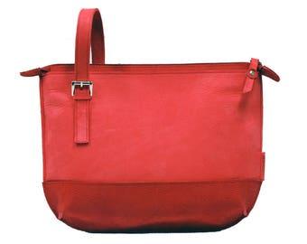 Shoulder bag, leather shoulder bag, shoulderbag, red shoulder bag, leather bag, red bag, Designtas, bag, Marinatas, exclusive, Leather