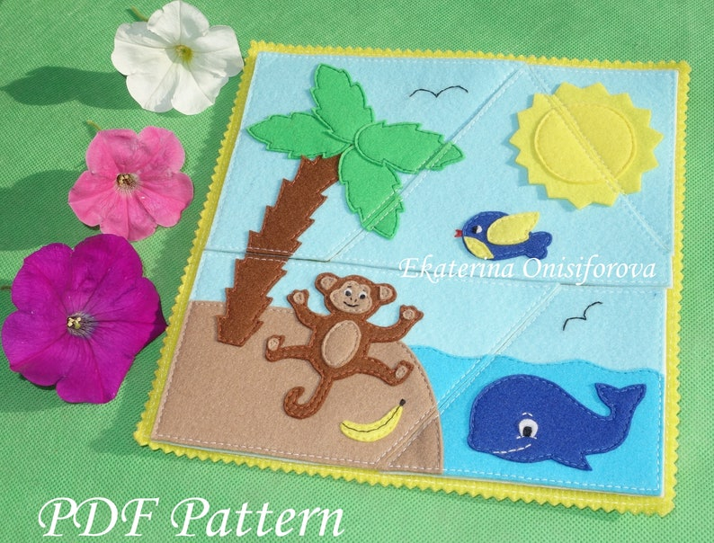 PDF Sewing Pattern 5 piece Jigsaw Puzzles Baby Sewing Pattern Quiet Book  Felt Toy Soft Toy PDF Baby Gift Felt Pattern