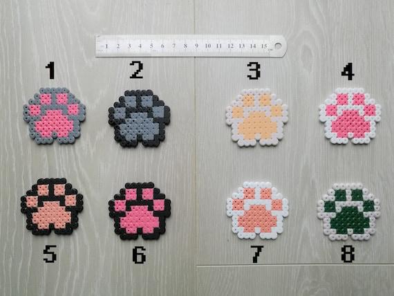 Magnet Portes Clé Patte De Chat Hama Beads Pixelart Perler Beads Sprite