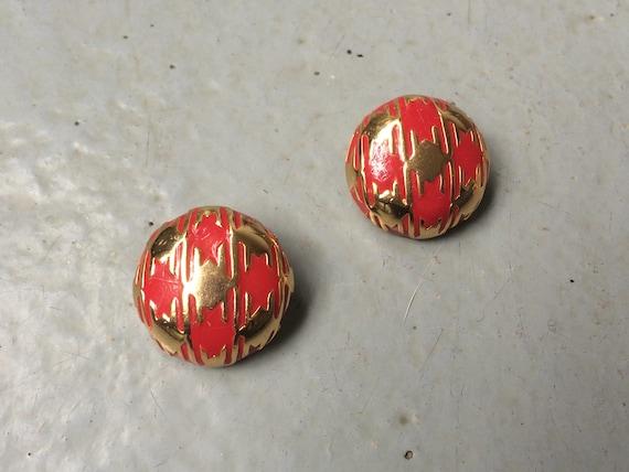 LANVIN Earrings vintage earrings red enamel and g… - image 2
