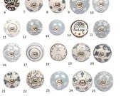 Vintage Style Ceramic Cupboard Door Knobs Black, White Grey Kitchen Cabinet Knobs Drawer Pulls Dresser Handles