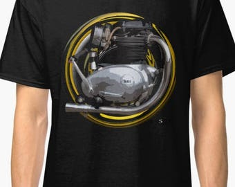 B.S.A. Lightning, Spitfire 650cc, A65 inspired Motorcycle engine T-Shirt No49 INISHED Productions
