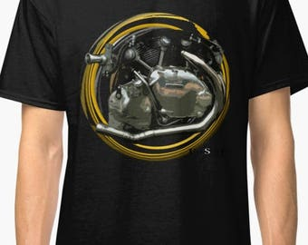Classic Vincent Blackshadow inspired Motorcycle engine T-Shirt No52 INISHED Productions