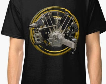 Brough Superior SS100(JAP)V-Twin 1925 inspired  Motorcycle engine T-Shirt No116 INISHED Productions