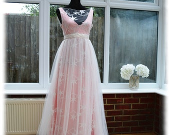 Celestial wedding dress with embroidered stars, Boho wedding dress