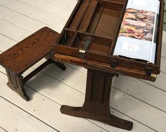Rare Chautauqua Child's Industrial Desk with Base & Seat
