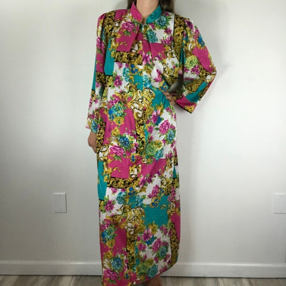 Christian Dior Vintage Floral Nightgown Robe