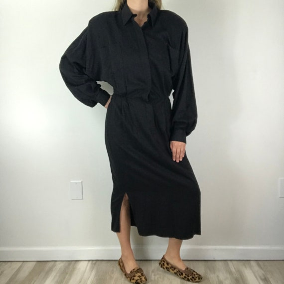 Norma Kamali 1980's Vintage Black Minimalist Long