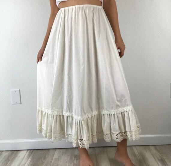 Laura Ashley Vintage White Crochet Petticoat Skirt