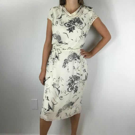 Akris Vintage 80's Silk Floral Dress