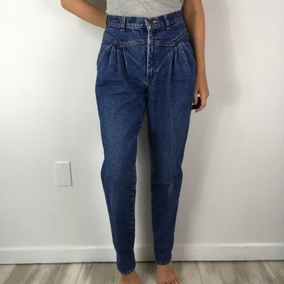 Jordache Vintage Pleated Front High Waisted Mom Je