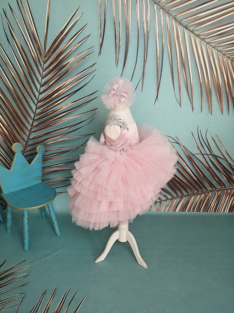 Powder Puffy Tutu Long Tail Jewellery Girl Gown Fantastic Baby Couture Kid Pageant Dress Flower girl birthday dress Luxury Prom Gown