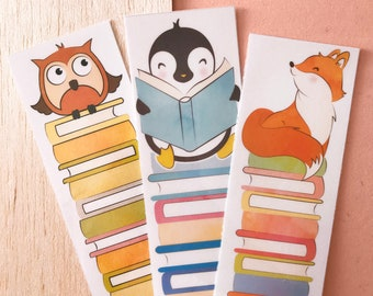 Animal reads LAMINATED BOOKMARKS