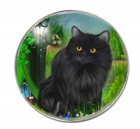 Black cat /& Moon The Healer Chrome Finish Metal Fridge magnet