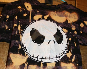 Nightmare Before Christmas Striped Jack Skellington Distressed Bleach-Dyed T-Shirt