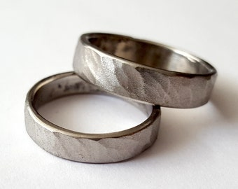 Stainless Steel Mens Wedding Band Hammered Bark Texture Etsy