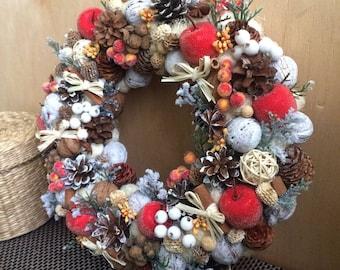 Christmas wreath, Christmas door decoration, Christmas wall decoration, Winter Wreath, Rustic Wreath, Front door decor