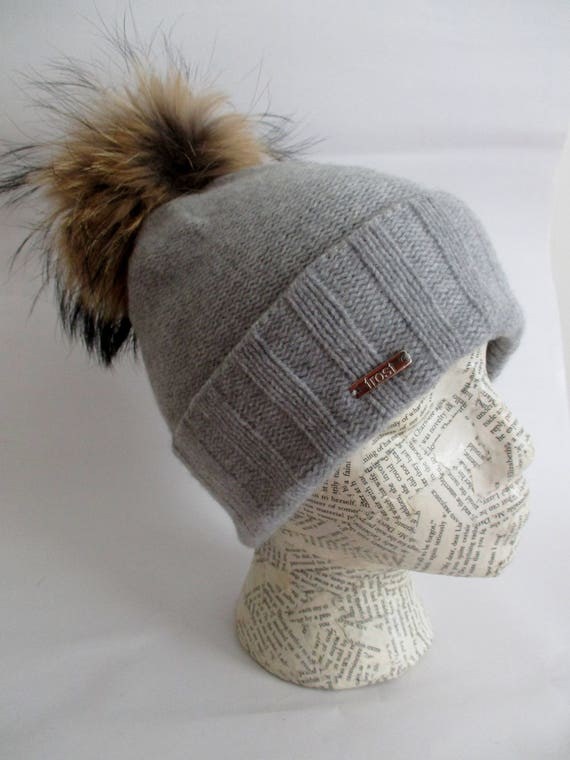Frost Hats Warmest Cashmere  Hat with Detachable Genuine Rabbit Fur Pom