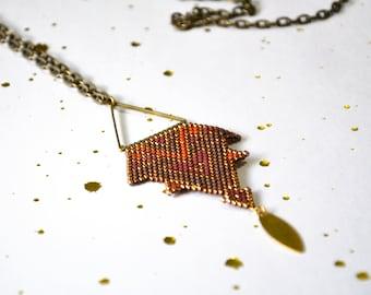 Unique triangle pendant _ piece Brown and khaki