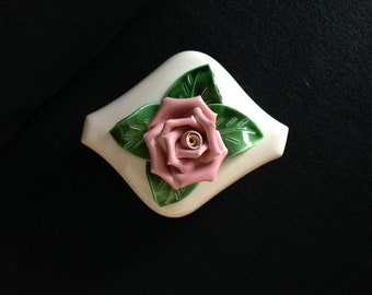 Vintage California Art Pottery - Dresser / Vanity Jewelry Trinket Dish / Box with Pink Rose and Green Leaves on Lid