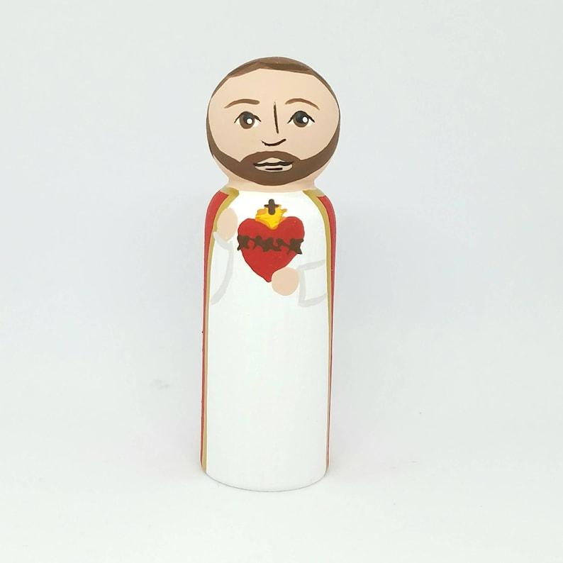 Jesus Sacred Heart Saint Peg Dolls Catholic Gifts Baptism image 0