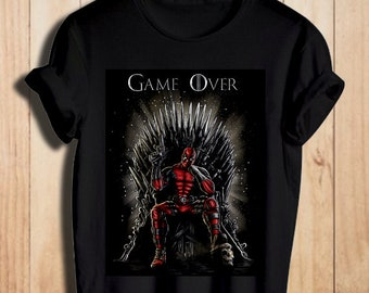 GAME OVER LADIES T SHIRT GAME OF DEADPOOL INSPIRED FRANCIS THRONES SUPERHERO NEW
