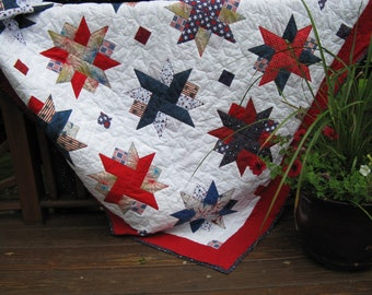 Patriotic quilt/extra long quilt/red-white-blue quilt/twin quitl/veterns quilt/flag quilt/holiday quilt