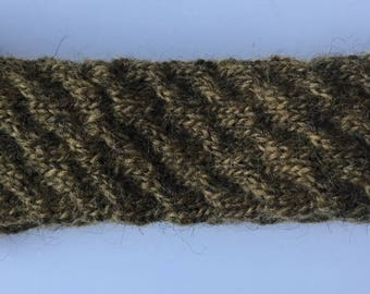 Handmade Knit Headband Khaki 100% pure Icelandic wool Earwarmer Winter