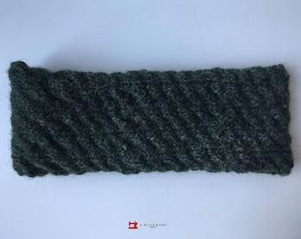 Handmade Knit Headband Dark Green 100% pure Icelandic wool Earwarmer Winter
