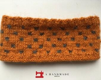 Handmade Knit Headband Orange Gray Dots 100% pure Icelandic wool Earwarmer Winter