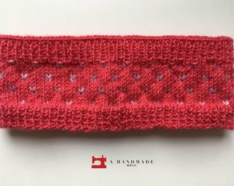 Handmade Knit Headband Pink White Mix of Wool and Acryl Earwarmer Winter