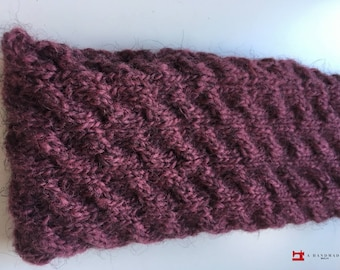 Handmade Knit Headband Purple 100% pure Icelandic wool Earwarmer Winter
