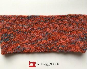 Beautiful Handmade Knit Headband Orange Blue Mix of Wool and Acryl Earwarmer Winter Perfect for babies