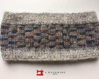 Handmade Knit Headband Grey Colors Mix of 100% pure Icelandic Wool, Wool and Acryl Earwarmer Winter