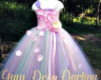 Pink princess dress etsy tutu dress princess dress flower girl dress floral tutu dress full length tutu dress pastel tutu dress pink tutu dress petal dress mightylinksfo