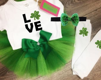 00fefdd39666e Love St. Patrick's Day green white tulle Baby girl Toddler Tutu Skirt  Outfit! Top Bodysuit shamrock leg warmers! Plain or Glitter!