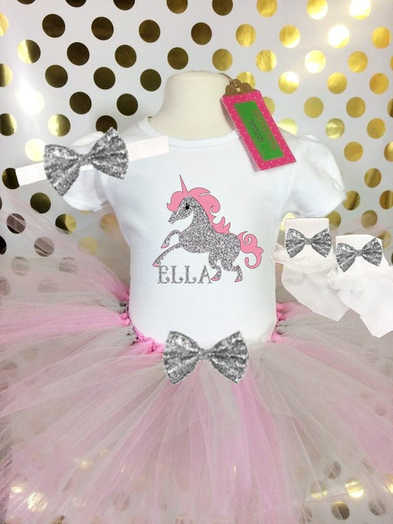 83f3c384d Clothing, Shoes & Accessories Rainbow Unicorn Shirt Tutu Socks Hair Bow Outfit  Girls Birthday Party 4PC Gift Set Personalized Name
