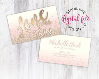 Salon business card etsy licensed esthetician business card personalized business card design skincare company business card love your skin digital file reheart Image collections