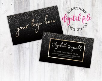 business card design personalized business card gold black glitter custom business card design for any business printable digital file - Cheap Custom Business Cards