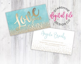 Esthetician business cards etsy licensed esthetician business card personalized business card design skincare company business card love your skin digital file friedricerecipe Images