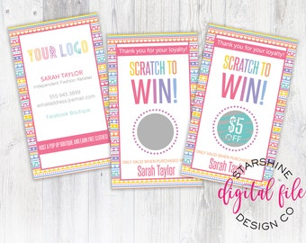 Custom LLR Scratch Off Card, Personalized Business Card, Fashion Consultant Scratch to Win Card, Loyalty Card Home Office Approved