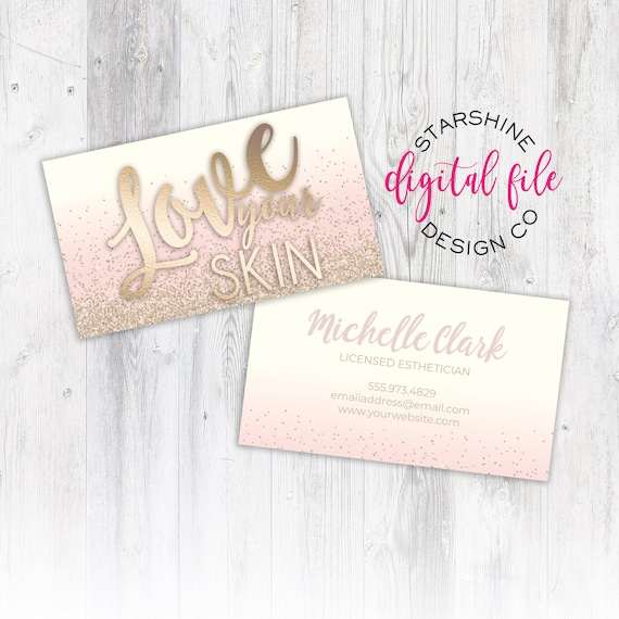 Licensed esthetician business card personalized business card etsy image 0 wajeb Images