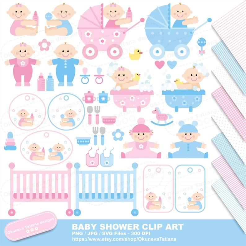 Baby Shower Clip Art Set Digital Paper Pack Jpg Seamless Etsy