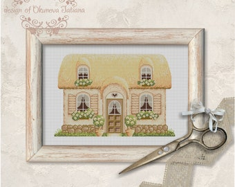 French Country Cottage Cross Stitch Pattern PDF Instant Download