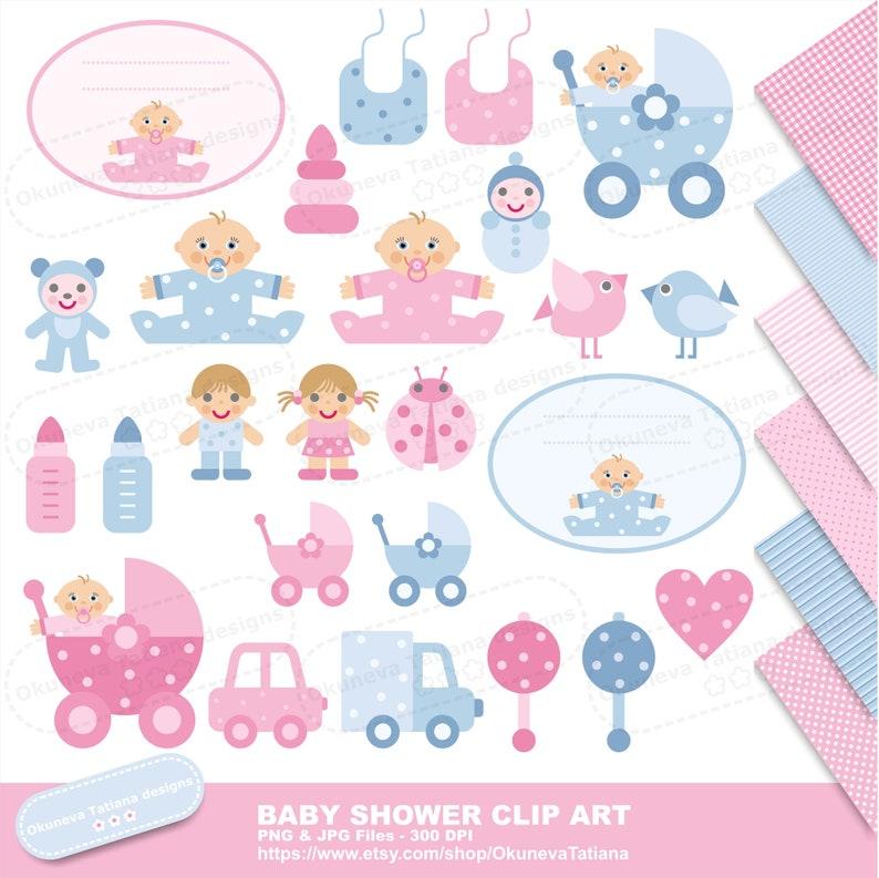 Baby Shower Clip Art Digital Paper Pack Jpg Seamless Etsy