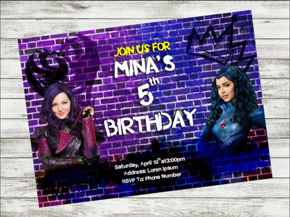 DIY Printable Disney Descendants Birthday Invitation